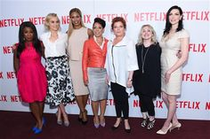 "Uzo Aduba, Taylor Schilling, Laverne Cox, Selenis Leyva, Kate Mulgrew, Jennifer Euston, and Laura Prepon attend the ""Orange Is The New Black"" FYC Screening at DGA Theater in New Yorkon Aug. 11, 2015."