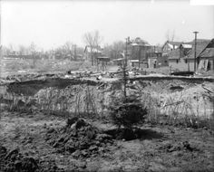 Planting in the Cherry Creek forest to hide old dumping ground View of a landscaping and flood control project by Cherry Creek in Denver, Colorado; shows excavation, a bare root pine tree, construction debris, a former dump, and houses in the Speer Neighborhood. Date	1918:: Western History