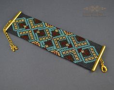Items similar to Aztec Bracelet Woven on a loom Bracelet seed beads Turquoise brown Metallic Cuff sleeves Gift for her Wide womens girls Choice of colors on Etsy Peyote Beading Patterns, Loom Bracelet Patterns, Bead Loom Bracelets, Bead Loom Patterns, Beaded Jewelry Patterns, Loom Beading, Tear, Bijoux Diy, Bead Crochet