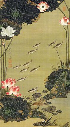 Ito Jakuchu 動植綵絵 Doshoku Sai-e Title:蓮池遊魚図 Renchi Yugyo-zu(Lotus Pond and Fish) c 1761-1765