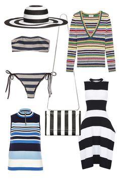 H&M Straw Hat, $13; hm.com Pomandere Bandeau Stripe Bikini, $211; stevenalan.com Saint Laurent Deep V-Neck Sweater, $1450; ysl.com River Island Sleeveless Zip Neck Top, $64; riverisland.com 3.1 Phillip Lim Soleil Mini Chain Shoulder Bag, $750; 31philliplim.com Stella McCartney Sleeveless Dress, $1,355; stellamccartney.com     - ELLE.com