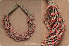 Coral crocheted necklace