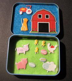 Tiny Farm Altoids Box by Polkadotworld on etsy.com Girl Toys, Toys For Girls, Construction For Kids, Tiny Farm, Puppets For Kids, Mint Tins, Altoids Tins, Kids Boxing, Farm Party