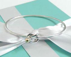 42073c138 Tiffany & Co Silver 18k Gold Love Knot Bangle Bracelet with Box  Beautiful! #