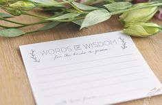 words of wisdom for the bride and groom | free bridal advice card templates