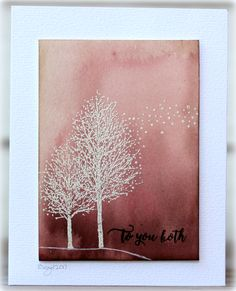 Testing my new Daniel Smith watercolors! Love the deep earth colors! Added the sweet tree stamp from Penny Black Snow Dust Happy Snippets Penny Black Cards, Penny Black Stamps, Handmade Birthday Cards, Greeting Cards Handmade, 123 Cards, Paper Smooches, Winter Cards, Watercolor Cards, Sympathy Cards