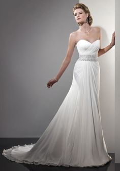 A-line Strapless Sweetheart Court Train in Chiffon Wedding Dress