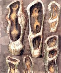 I really likes these for the sense of interior spaces. Sculpture Painting, Painting & Drawing, Plaster Sculpture, Plaster Art, Natural Form Artists, Natural Forms, Henry Moore Drawings, Henry Moore Sculptures, Alberto Giacometti