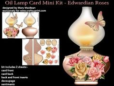 Oil Lamp Card Mini Kit Edwardian Roses on Craftsuprint designed by Mary MacBean - Vintage oil lamp shaped card decorated with beautiful roses and a butterfly. The card back is folded to allow the card to stand, and fold flat for posting. The kit includes the card front, card back, back and front inserts, decoupage and sentiments. There are 3 sentiments including a blank tag for your own message. It is very simple to make and full instructions are included. This card can be used for many ...