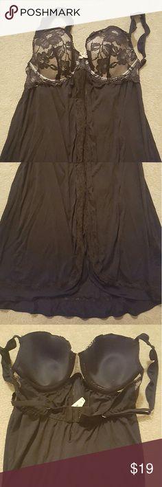 Black Victoria's Secret Lingerie Slip 1pc New 36c Lingerie Slip-Nighty Adjustable straps, padded with hook and eye closure 90% modal and 10% elastane Victoria's Secret Intimates & Sleepwear Chemises & Slips