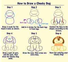How to draw a cheeky dog (webkinz) - link has instructions for lots of other animals.