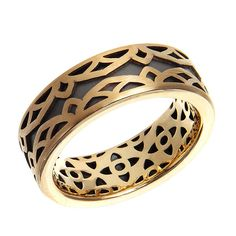 Malo Mardini Collection Two-Tone Gold Carved Wedding Band #justicejewelers #malomardini