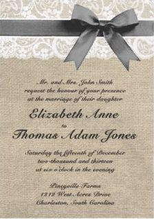 Burlap and Lace Rustic Wedding Invitation