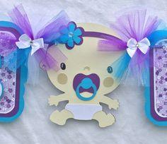 Baby shower banner, baby girl banner, it's a girl banner, purple, dark turquoise, etsy, handmade banner, nancysbannerboutique, photo prop