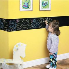 Chalkboard Paint Border for kids room or playroom Colored Chalkboard Paint, Chalk Paint, Creative Kids Rooms, Room Deco, Deco Kids, Girl Room, Child's Room, Kids Bedroom, Bedroom Wall