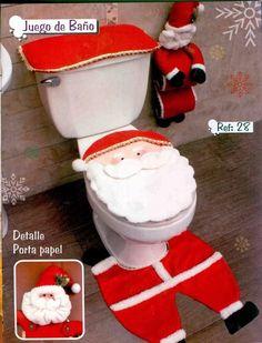juego de baño navideño Unique Christmas Decorations, Christmas Crafts To Make, Christmas Sewing, Christmas Home, Xmas, Holiday Decor, Christmas Bathroom Decor, Navidad Diy, 242