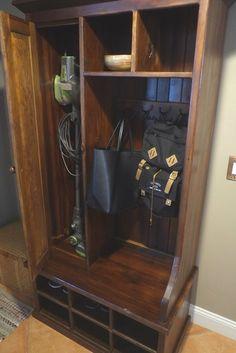 Reclaimed Wood Mudroom Organizer With Door Reclaimed Wood Door, Reclaimed Wood Furniture, Solid Wood Furniture, Rustic Wood, Entryway Hall Tree, Hall Tree Bench, Mudroom Organizer, Door Storage, Cubbies
