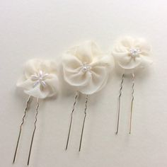 Ivory hair flowers for wedding, set of 3 wedding flowers bridal hair pins, versatile wedding hair accessories, bridal or bridesmaids hair Bridal Hair Flowers, Bridal Hair Pins, Wedding Flowers, Honeymoon Gifts, Holiday Hairstyles, Bridal Shower Gifts, Wedding Hair Accessories, Bride Gifts, Bridesmaid Hair