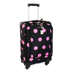Jenni Chan Dots 360 Quattro 21 Upright Spinner Carry On Luggage, Black Pink Luggage Deals, Best Carry On Luggage, Pink Luggage, Checked Luggage, Spinner Suitcase, Pink Polka Dots, Jenni, Black, Suitcases