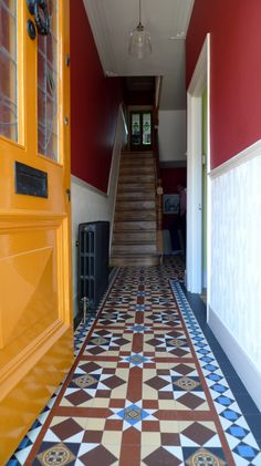 Victorian Reproduction Mosaic Hallway and Path Brockley Peckham Dulwich London Contact anewgarden for more information Hall Tiles, Tiled Hallway, London Garden, House Front, Mosaic Tiles, Paths, Stairs, Victorian, Architecture