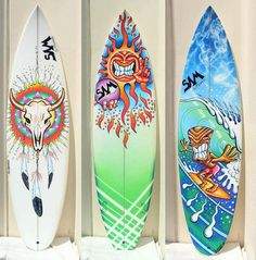 Close Up Photos Of Three Boards That I Painted For Steve Morris The