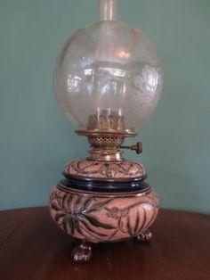 ANTIQUE VICTORIAN(C1890)DOULTON LAMBETH CERAMIC OIL LAMP-FINE ETCHED GLOBE SHADE in Antiques, Antique Furniture, Lamps | eBay