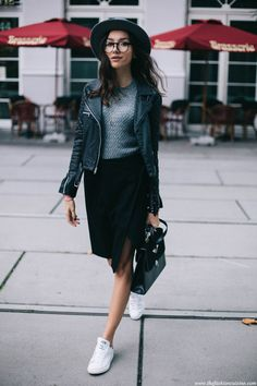Stan Smith Sneakers | 【MY STYLE】Stan Smith Sneakers & Midi Skirt | How to wear Stan Smith sneakers with midi skirt in fall 2015 | I'm wearing: Viparo leather jacket (similar HERE)/ Zara sweater/ Edited skirt/ Stan Smith sneakers/ Vintage bag/ Daniel Wellington watch/ Brixton hat