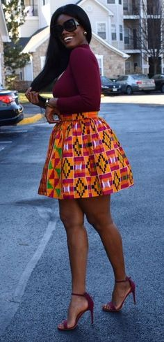 Kente Styles Mixed With Lace Attires For African. kente styles with lace fabrics have always created African Print Skirt, African Print Dresses, African Print Fashion, African Wear, African Women, African Dress, African Prints, African Style, African Design