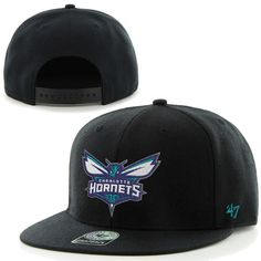 47 Brand Charlotte Hornets Bushwick Throwback Logo Snapback Hat - Black 2dc6e963cfb1