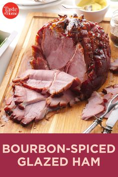 This bourbon-spiked ham makes a wonderful main course for a holiday feast. Leftovers (if there are any leftovers) make delicious sandwiches. Ham Recipes, Cooking Recipes, Healthy Recipes, Gammon Recipes, Recipies, Bacon Dishes, Pork Dishes, Thanksgiving Recipes, Holiday Recipes