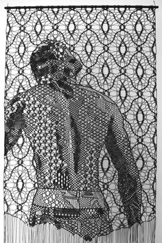 Pierre Fouché. The Judgment of Paris (after Wtewael) II. 2015. Bobbin lace and macramé in polyester braid. 2000 x 800mm. Private collection.