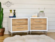 Danish inspired bedside tables. Painted in high gloss white enamel, with natural timber drawers.   www.rawrevivals.com.au