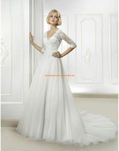 Cosmobella A-linie V-ausschnitt Elegante Brautkleider aus Organza mit Schleppe