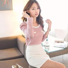 Shirred-Shoulder Contrast-Trim Knit Top from #YesStyle <3 Tokyo Fashion YesStyle.com
