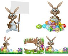 Easter bunny with eggs template vector. We have over 10,000+ pictures. All images on the site vectorpicfree.com free for download and ready for print.
