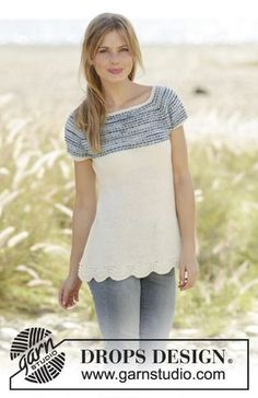 Spring Rain Top with stripes on yoke, raglan and wave pattern by DROPS Design. Free Knitting Pattern