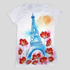 3c65fc139 White t-shirt with flower from Paris hand painted casual Paris Shirt,  Tshirts Custom