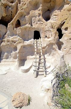 This is an image of the exterior of the Anasazi Cave Dwellings which date back to around 900 BC. This is the first type of living quarters of the Anasazi. The caves were always near the agriculture of the tribes and allowed them to move as often as needed for new crop placement. This architecture reflects the subtle attempts to shift from the hunter-gatherer lifestyle to a more permanent agricultural lifestyle.