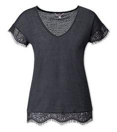 Dames Shirt met kant in donkergrijs –  Voordelig Online bij C&A