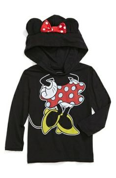 Minnie Mouse black Hoodie with Ears   Minnie Mouse print, complete with a polka-dot bow and cute mouse ears ...