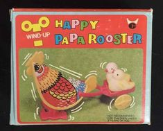 Vintage 1970s Happy Papa Rooster Wind-Up Toy Chicks Cart Colorful Eggs Easter  #Unknown