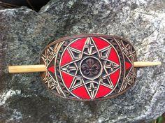 Fleur de lis geometric  hand carved leather hair barrette