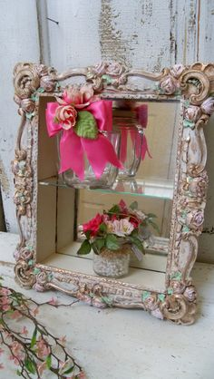 Ornate shadow box shelf shabby elegant by AnitaSperoDesign on Etsy Shabby Chic Frames, Vintage Shabby Chic, Shabby Chic Decor, Turquoise Dresser, Shadow Box Shelves, Swarovski Crystal Figurines, Feminine Decor, Love Frames, Rose Wall
