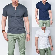 Pocket Stitch Slim Washed Henleyneck-Tee 527 - GUYLOOK