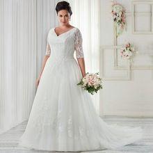 7c929670725 Romântico branco Tulle vestido de noiva Plus Size meia manga V Neck  apliques de renda mulheres