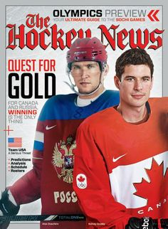 Alex Ovechkin and Sidney Crosby on the cover of The Hockey News Olympics Preview, January 2014