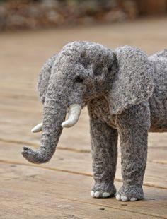 Needle felted elephant sculpture