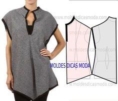 Passo a passo transformação do molde de blusa túnica. Para fazer este modelo de blusa imprima o molde base de blusa e faça a gradação para o seu tamanho.