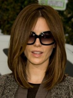 Elegant Long Bob, Kate Beckinsale Long bob hairstyle is popular not only for its hot look, but also for the ability to suit all face shapes and hair textures.The most important thing to have gorgeous bob style, you should add volume to your hair. Use a blow dryer in order to lift the roots. To create super sleek style use flat iron and hair serum for glossy effect.