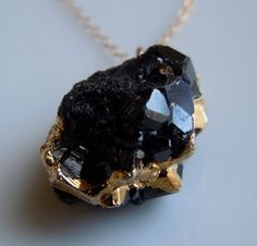 Black Druzy Tourmaline Necklace  www.etsy.com/shop/443Jewelry